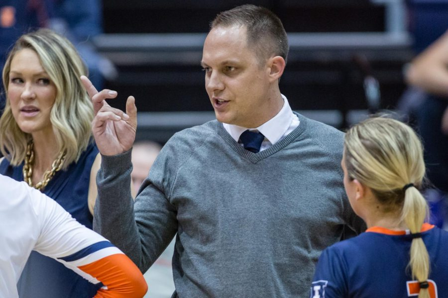Illinois+head+coach+Chris+Tamas+talks+to+his+team+during+a+timeout+in+the+match+against+Michigan+at+Huff+Hall+on+Nov.+5.+The+Illini+won+3-2.