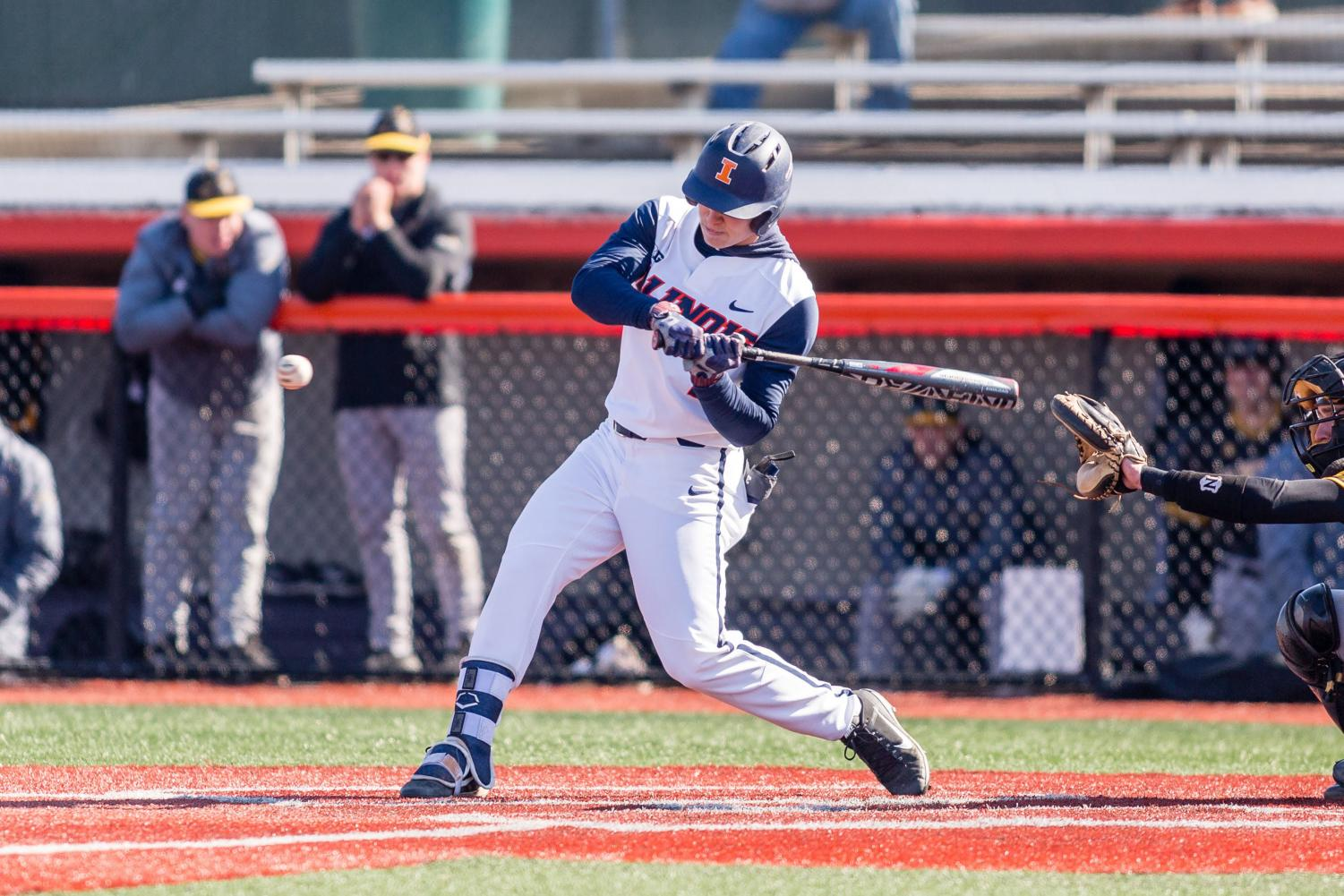 Illinois outfielder Jack Yalowitz swings at the pitch during the game against Milwaukee at Illinois Field on March 14, 2018. Yalowitz was recently named the Big Ten player of the week.