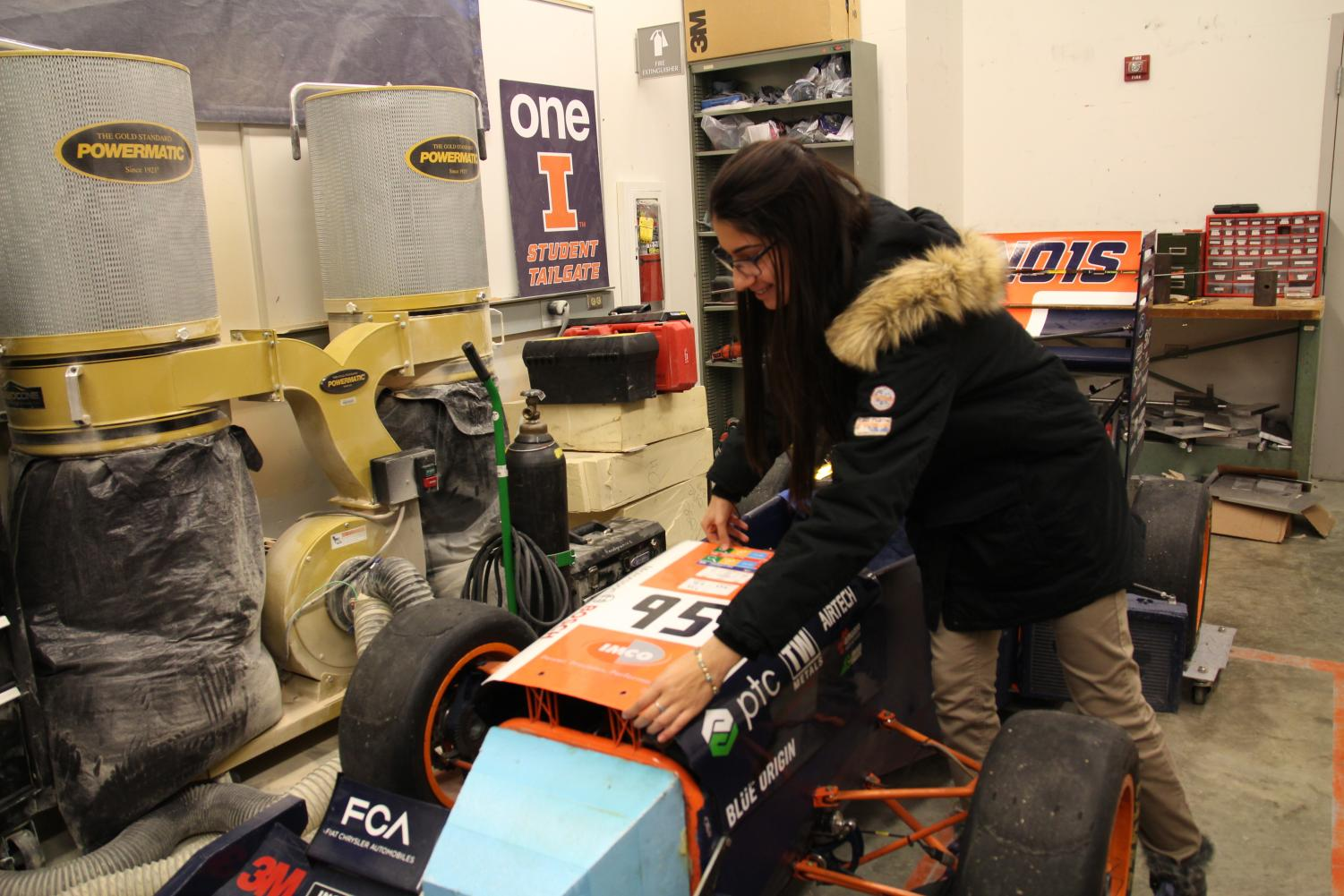 Violet Kamber works with the Formula SAE team to build and race their car.