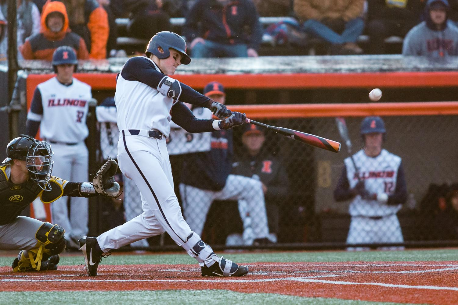 Illinois infielder Michael Massey takes a swing at the ball in the Illini's Big Ten home opener against Iowa on March 30.