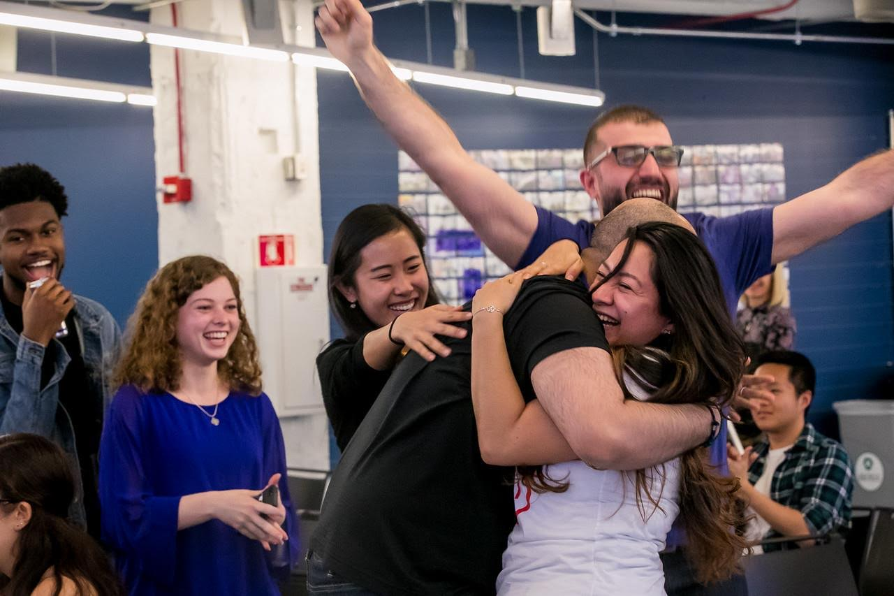 Amaury Saulsberry (left), Sarah Brincks, Zichen Yu, Badar Al-Lawti, Emely Lopez and Redar Ismali Chico (back right). Brincks, Lopez and Saulsberry from the University won first place in a startup competition for the development of a business.