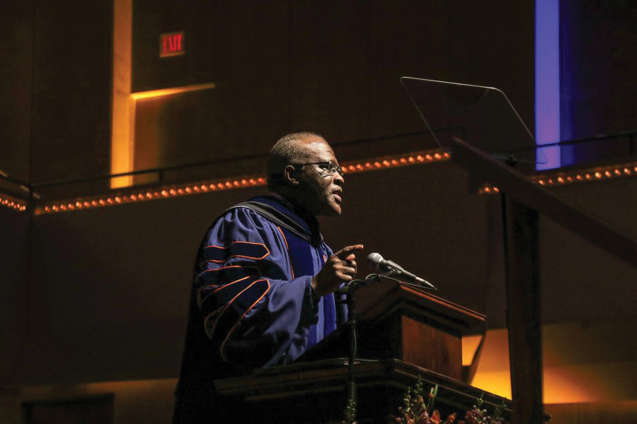 Chancellor Robert Jones speaks at the sesquicentennial celebration at the Krannert Center on Feb. 28. Seven University faculty members were awarded  the 2017 Chancellor's Academic Professional Excellence Award.