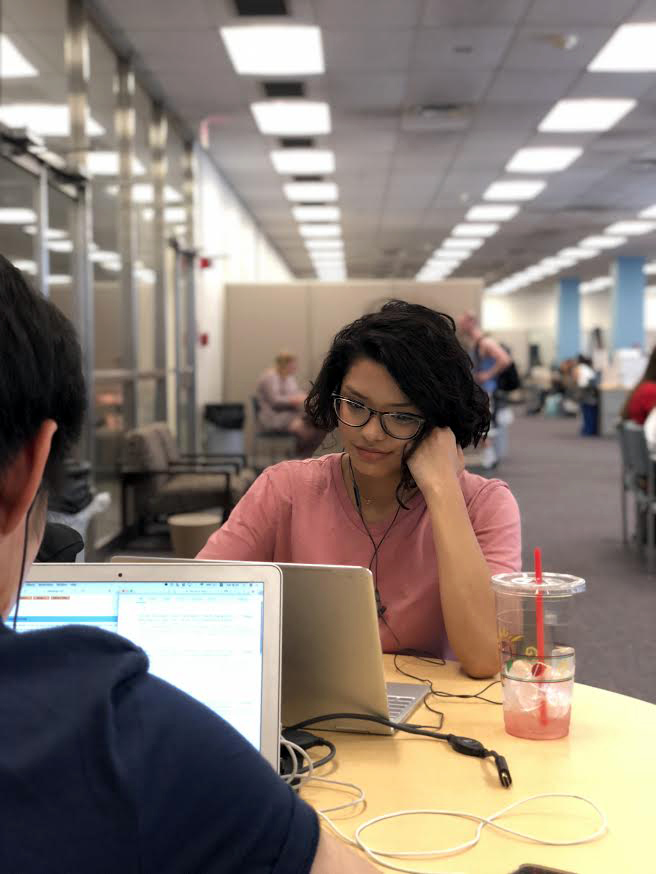 Jenifer Coronel, sophomore (class of 2020), NRES major, studying on the 2nd floor of the UGL.