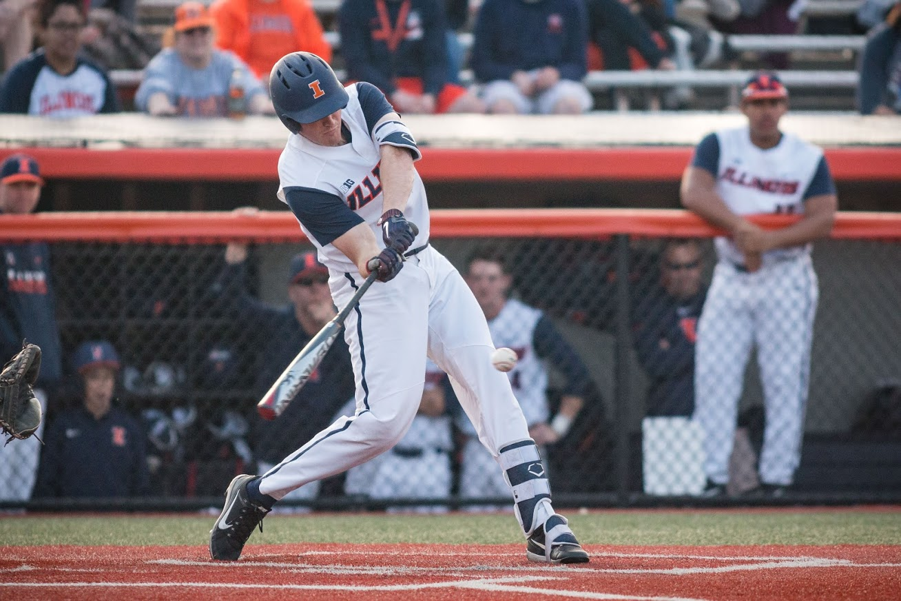 Illinois infielder Bren Spillane (9) hit his 22nd home run of the season in the bottom of the seventh to make it 11-8 on Saturday, May 19.