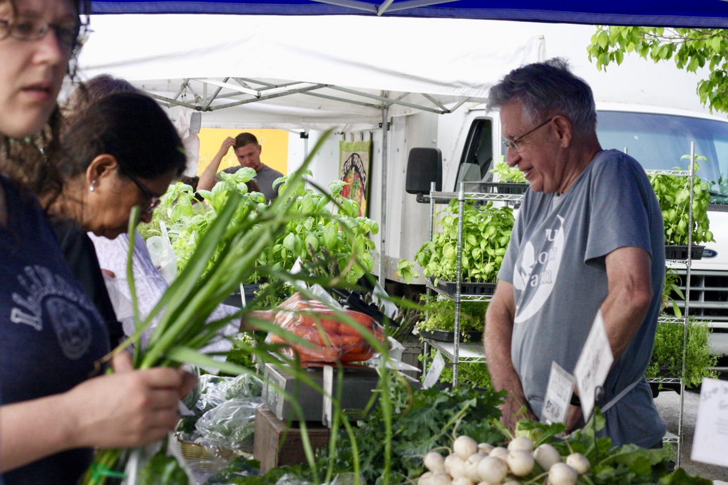 Customers browse for produce at the Blue Moon Farms stand on Saturday, May 19. John Dunkleberger has been with Urbana's Blue Moon Farms since their inception. The Market at the Square offers a variety of locally-grown produce, handcrafted products and fresh-baked breads every Saturday from May through October.