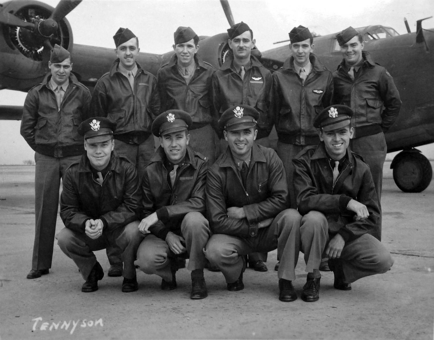 """This B-24 bomber crew, plus an additional crewman, were lost on a bombing mission over Papua New Guinea in 1944 during World War II. The bombardier, 2nd Lt. Thomas Kelly, Jr. (front row, far right) was a relative of University professor Scott Althaus. Five years ago, Althaus and members of his extended family formed a research team to learn the details of Kelly's final mission, which would also lead to the finding of the plane, """"Heaven Can Wait."""""""