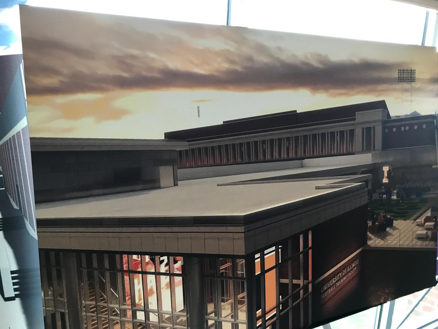 A rendering of the new football practice facility from the northeast perspective, currently under construction on Fourth Street and Peabody Drive. Athletic Director Josh Whitman held a roundtable Wednesday to discuss the construction of new athletic facilities and renovations for current facilities.