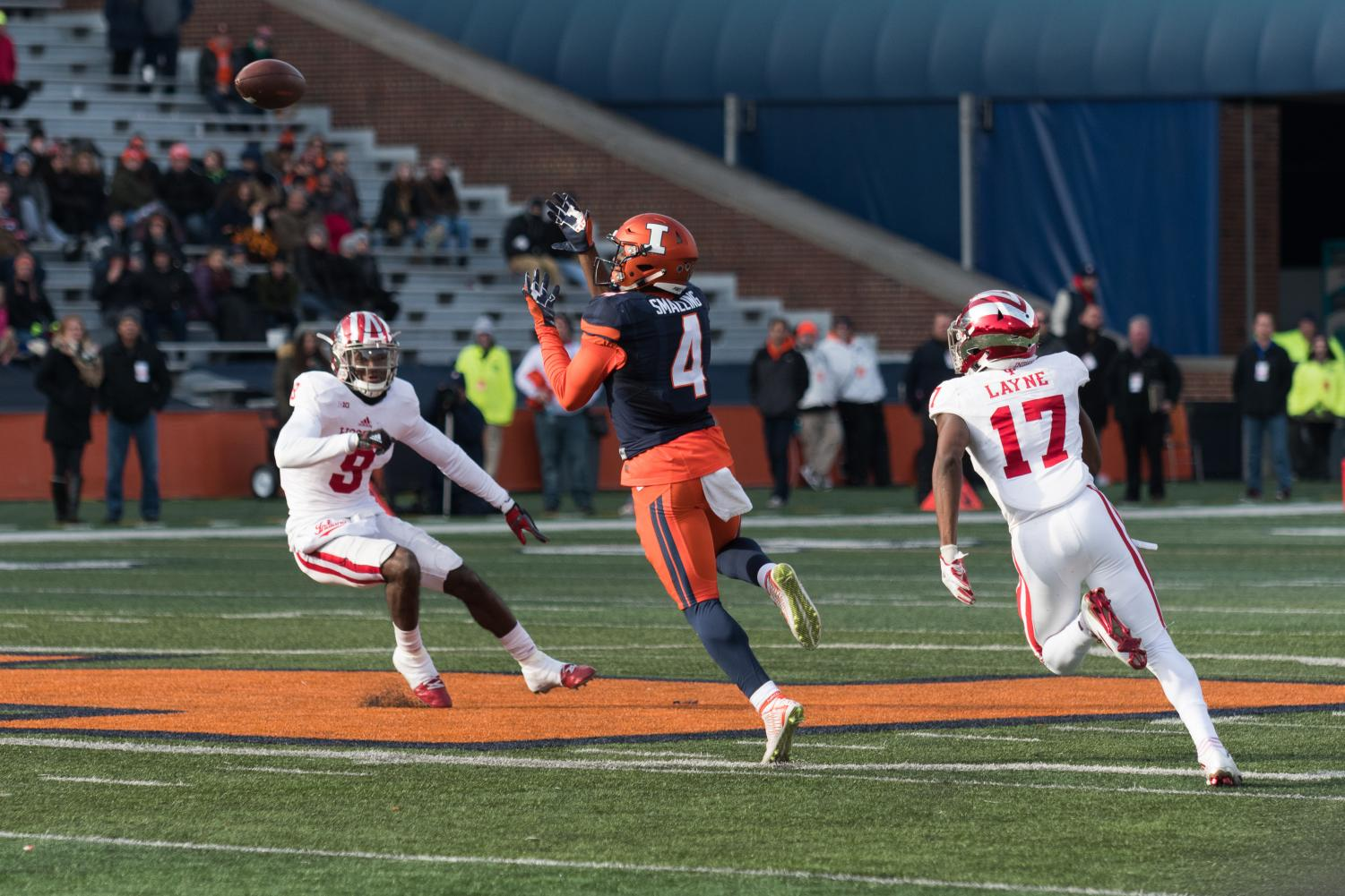 Sophomore wide receiver Ricky Smalling goes up for a catch in the game against Indiana at Memorial Stadium on Nov. 11, 2017. Smalling looks to highlight the Illinois offense this season as it switches to a spread style. Photo by: Quinten Shaw