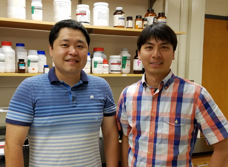 Researchers+Nien-pei+Tsai+%28right%29+and+Kwan+Young+Lee+%28left%29+discovered+a+protein%2C+p53%2C+that+contributes+to+irregular+brain+excitability.+