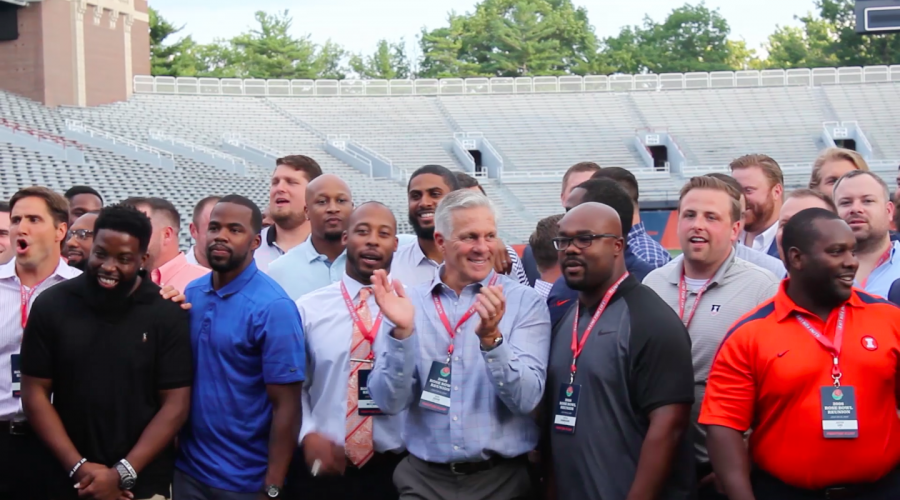 The 2008 Illini Rose Bowl team poses for a picture at their 10 year anniversary held at Memorial Stadium on July 21, 2018.