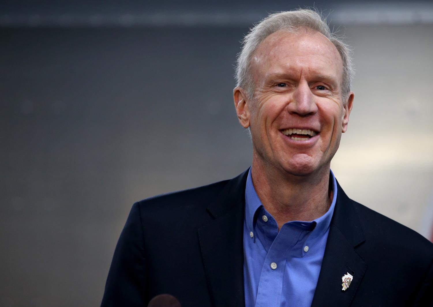 Governor Bruce Rauner speaks out during a press conference for an announcement of a donation from AptarGroup and Adapt Pharma, Thursday, Feb. 8,2018.  The donation will go to help prevent opioid deaths.