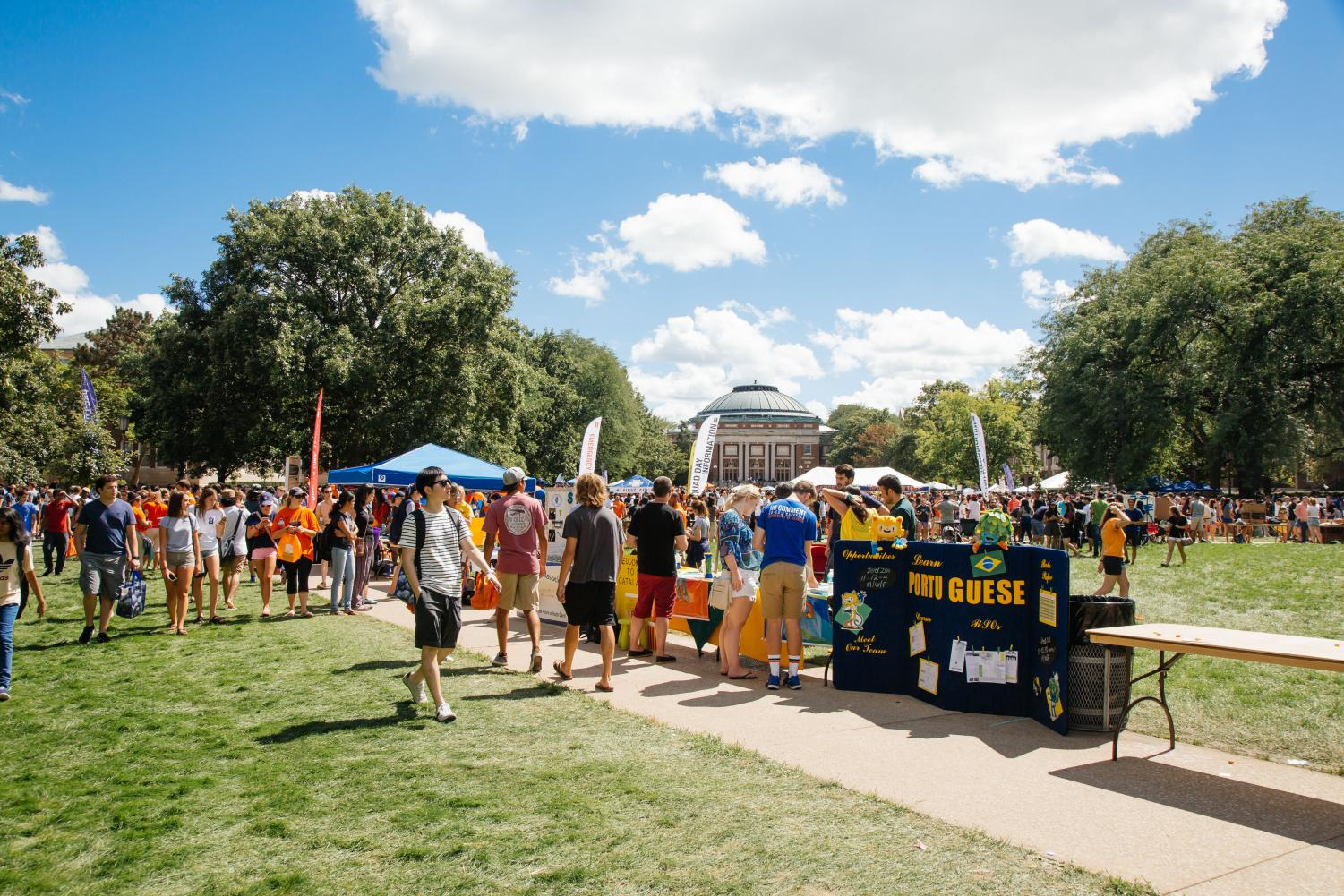 Students search for Registered Student Organizations to join on Quad Day in August 2016.