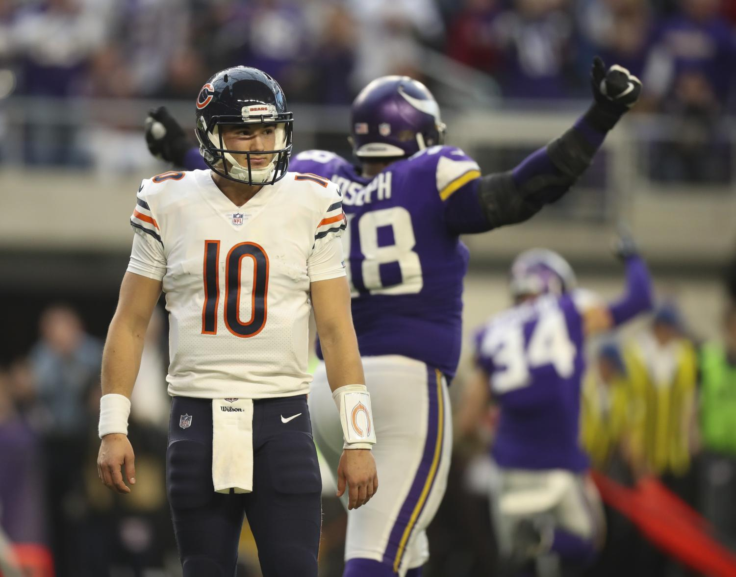 Quarterback Mitch Trubisky of the Chicago Bears competes in a game against the Minnesota Vikings in 2017. Trubisky is a young NFL talent that, much like the Illini football team, looks for big improvement.