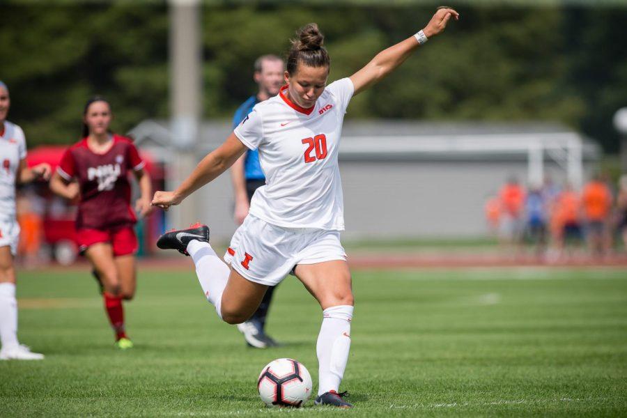Illinois forward Makena Silber (20) shoots the ball during the game against Northern Illinois at the Illinois Soccer Stadium on Sunday, Aug. 26, 2018. The Illini won 8-0.