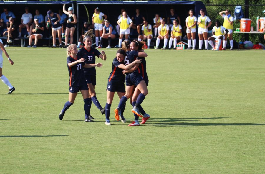 Illinois+celebrates+after+a+goal+in+its+game+against+North+Carolina+on+Aug.+16.+The+early+season+performance+against+North+Carolina+could+be+a+sign+of+things+to%0Acome+for+the+Illini.+