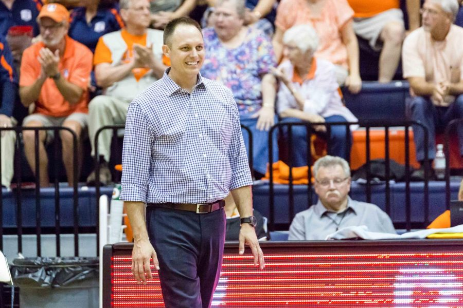 Illinois+head+coach+Chris+Tamas+watches+his+team+from+the+sideline+during+the+match+against+Stanford+at+Huff+Hall+on+Friday%2C+September+8.+The+Illini+lost+3-0.