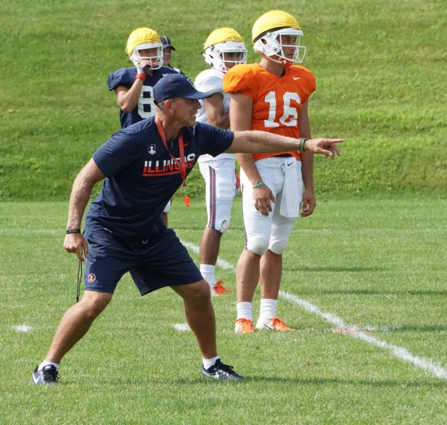 Special team coach Bob Ligashesky directs Illini players during training camp. Ligashesky coached one of the best units in the 2017 season and looks to expand on its production. Photo by: Gavin Good