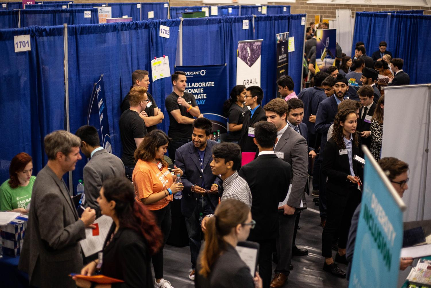 Students crowd the Activities and Recreation Center during the Engineering Career Fair on Tuesday. Over 7,000 students and 1,800 recruiters attended the fair.