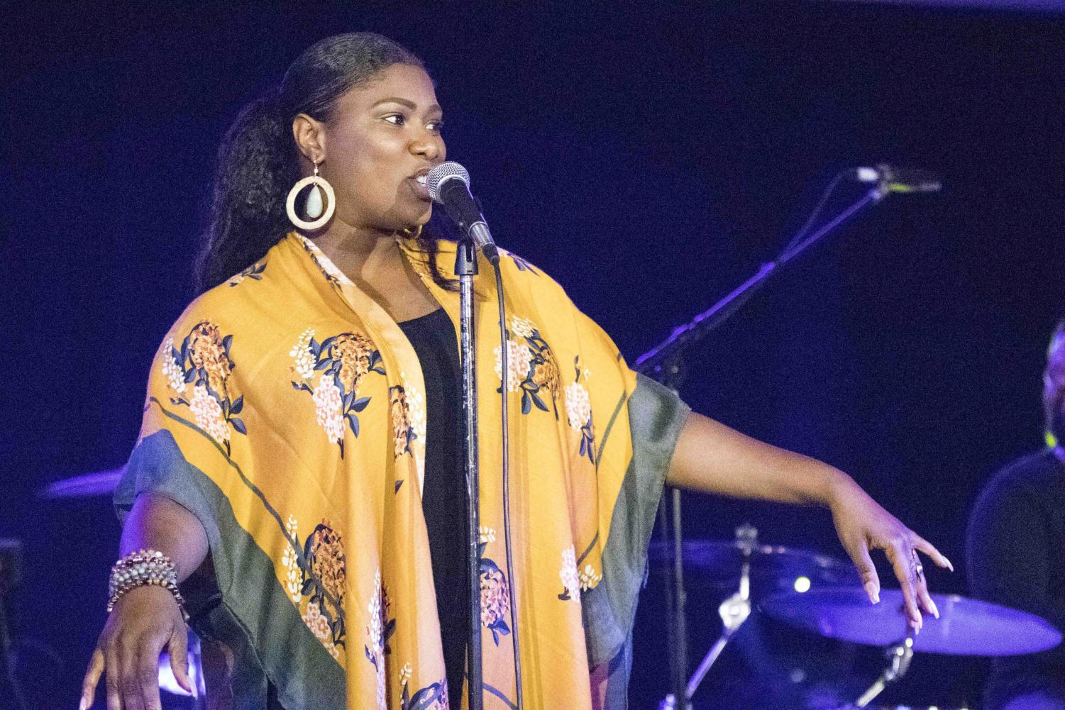 Quiana Parler performs at Krannert Center for the Performing Arts' Opening Night Party: 50th Anniversary Celebration Kickoff. Musician Charlton Singeton also performed at the party on Friday.