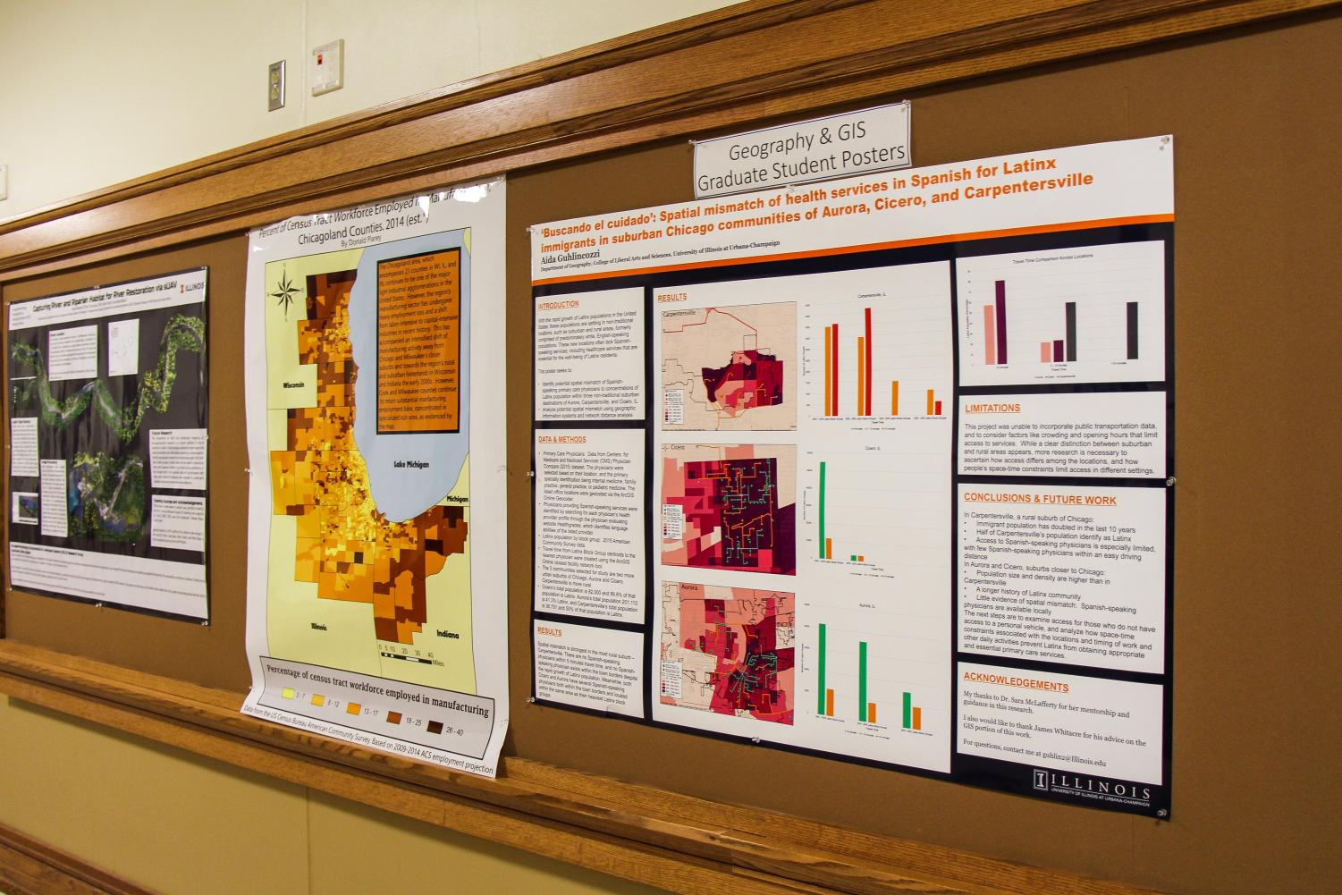 Geography & GIS major graduate students created posters of their research and presented them in the halls of the Natural Science Building.