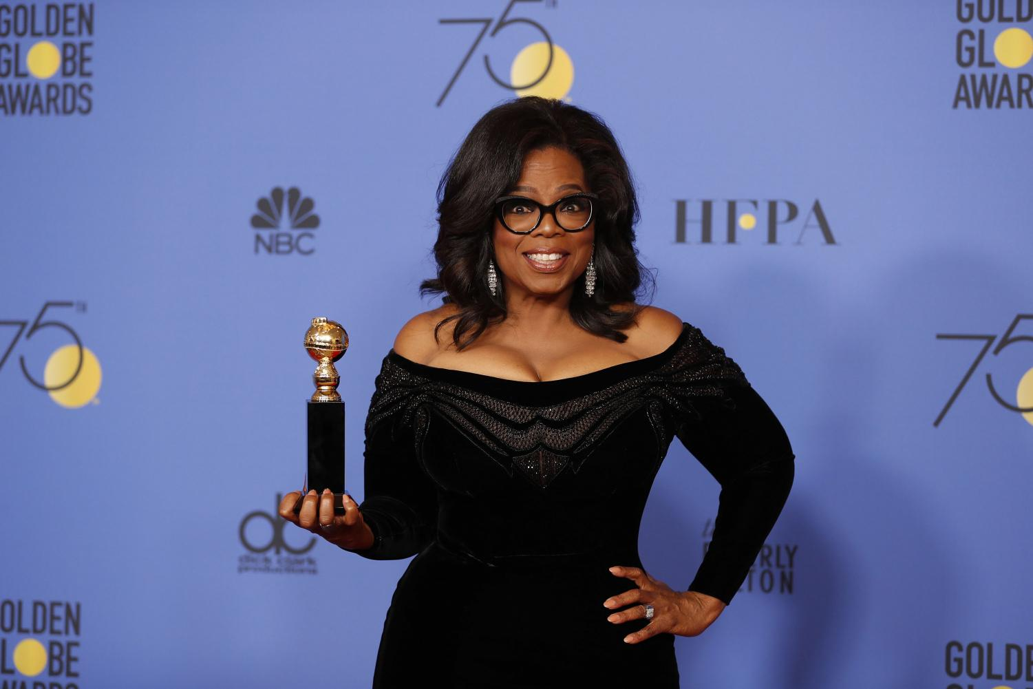 Oprah Winfrey backstage at the 75th Annual Golden Globes at the Beverly Hilton Hotel in Beverly Hills, Calif., on Jan. 7, 2018. Columnist Alice stresses award shows should remain political, especially for important social movements.