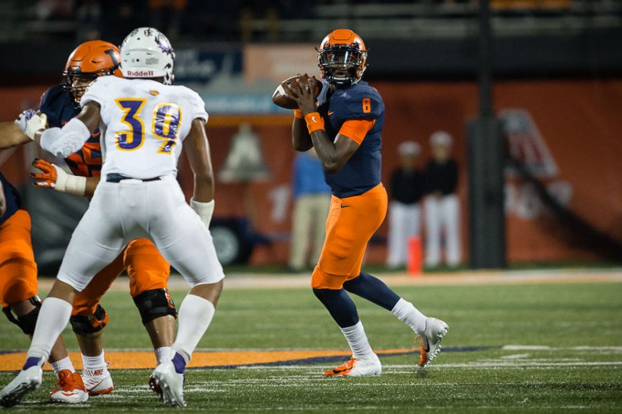 Illinois quarterback M.J. Rivers II (8) looks to pass during the game against Western Illinois at Memorial Stadium on Saturday, Sept. 8, 2018.