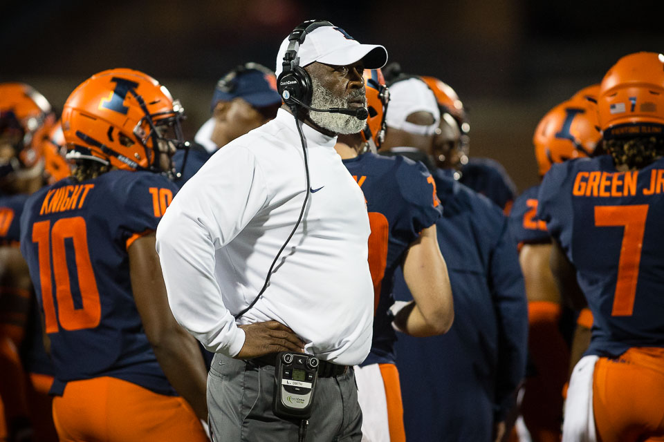 Illinois head coach Lovie Smith looks up at the scoreboard during the game against Western Illinois at Memorial Stadium on Saturday, Sept. 8, 2018.