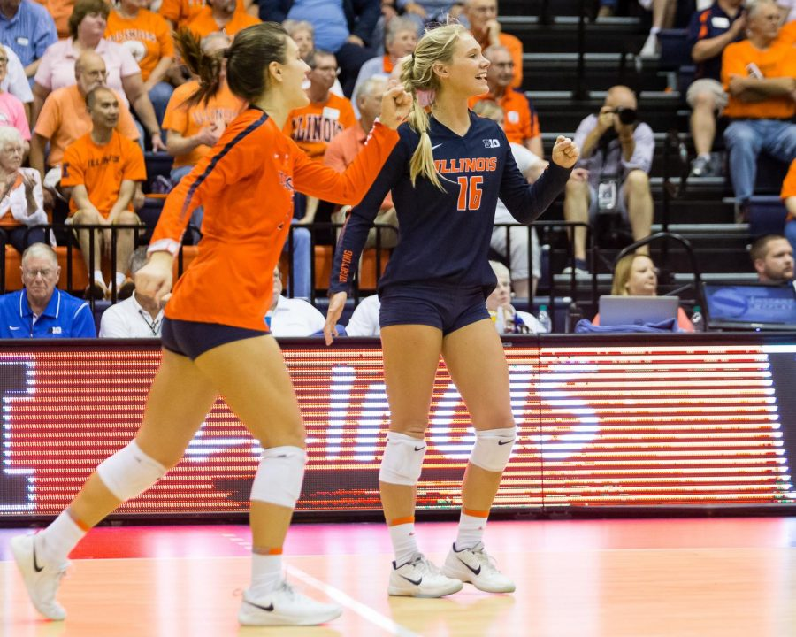 Illinois defensive specialist Morgan O'Brien celebrates during the match against Northern Iowa at Huff Hall on Friday. The Illini won 3-0.
