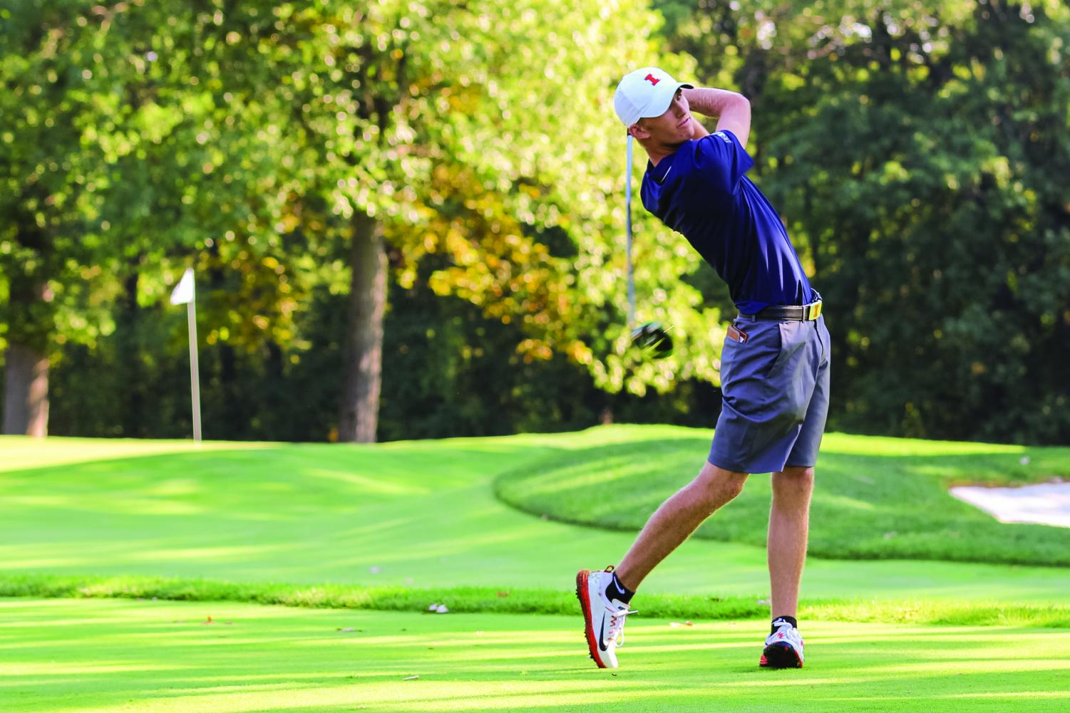 Junior Michael Feagles follows the ball after a drive. Feagles will look to build on his success from last season, and continue the program's success.