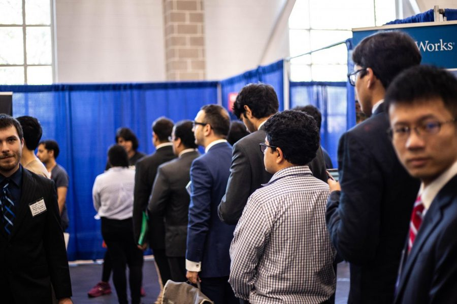 Hundreds+of+prospective+Engineering+students+waited+in+line+to+chat+with+specific+companies+at+the+Engineering+career+fair+at+the+ARC+on+Sept.+11%2C+2018.