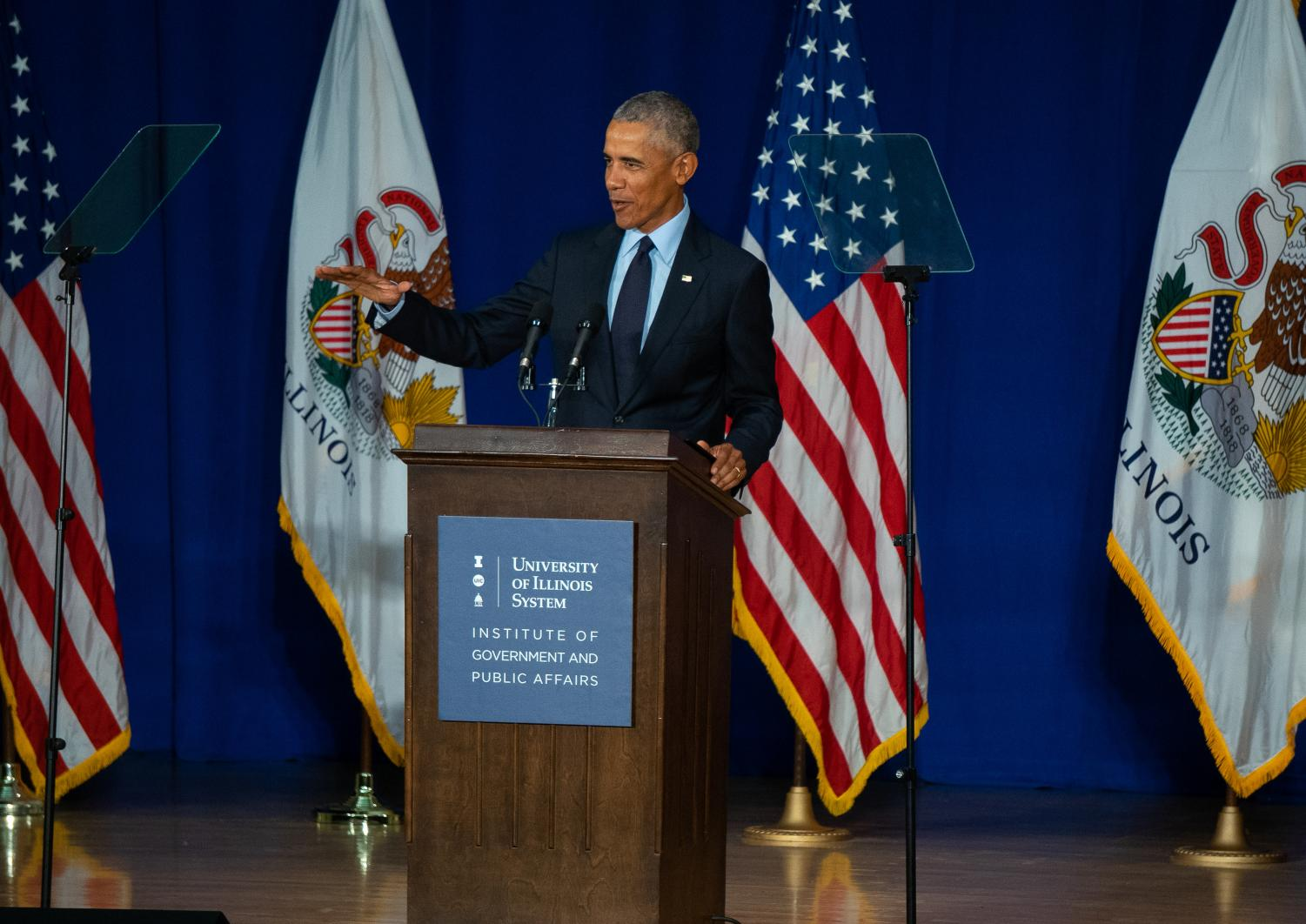Former President Obama begins his address to the University's attending students.