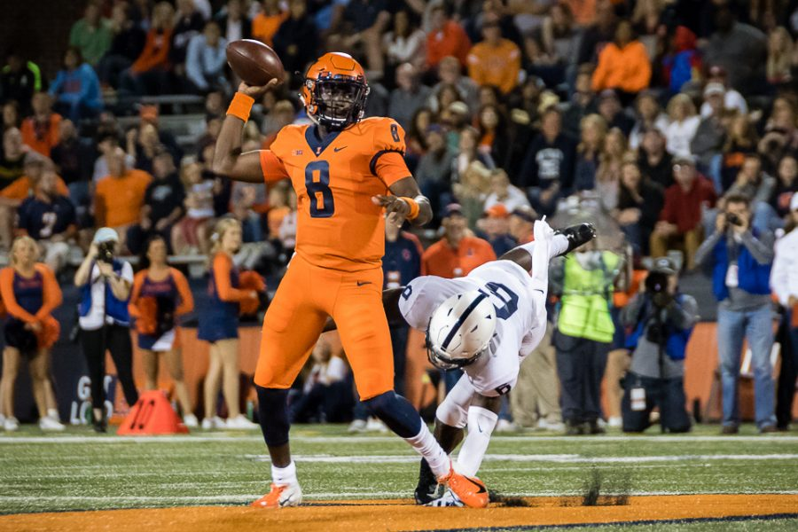 Illinois+quarterback+M.J.+Rivers+II+%288%29+passes+the+ball+during+the+game+against+Penn+State+at+Memorial+Stadium+on+Friday%2C+Sept.+21%2C+2018.+The+Illini+lost+63-24.