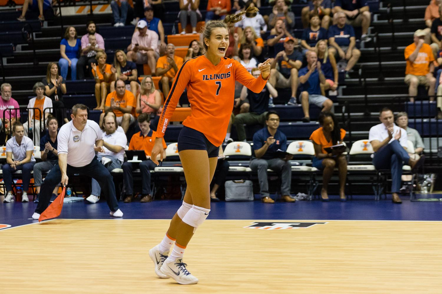 Illinois outside hitter Jacqueline Quade (7) celebrates during the match against Northern Iowa at Huff Hall on Sept. 14, 2018. The Illini won 3-0.