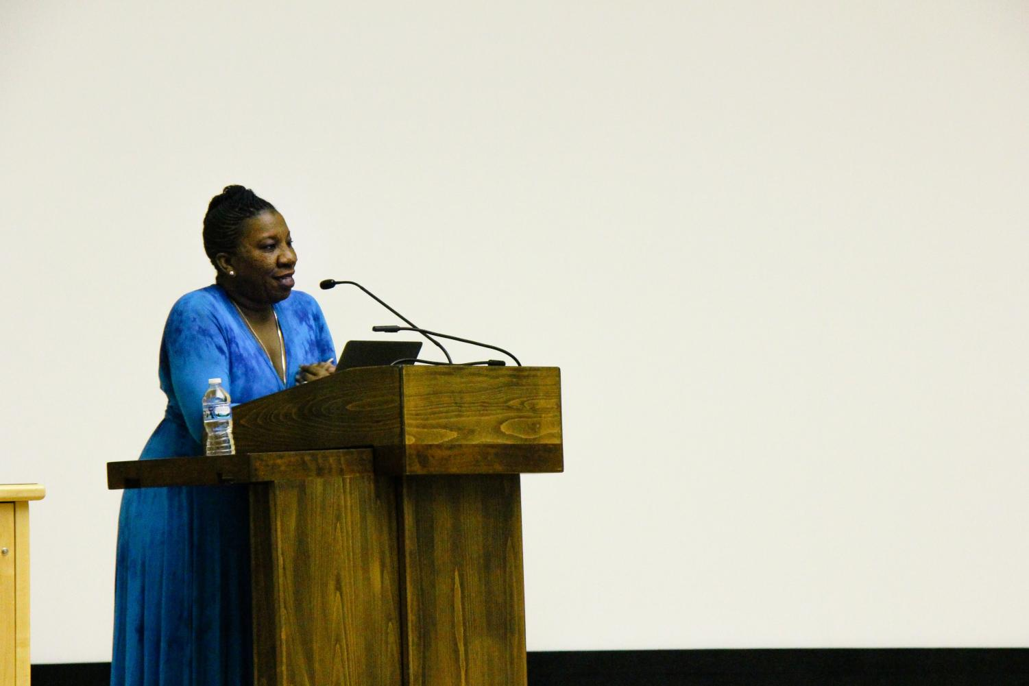 Tarana Burke, a civil rights activist from The Bronx, New York, shares her story with Illinois students at  Foellinger Auditorium on Tuesday.