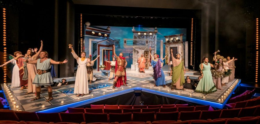 The cast takes a bow during a rehearsal of A Funny Thing Happened on the Way to the Forum in the Colwell Playhouse at Krannert Center in Urbana on Tuesday, October 16, 2018.