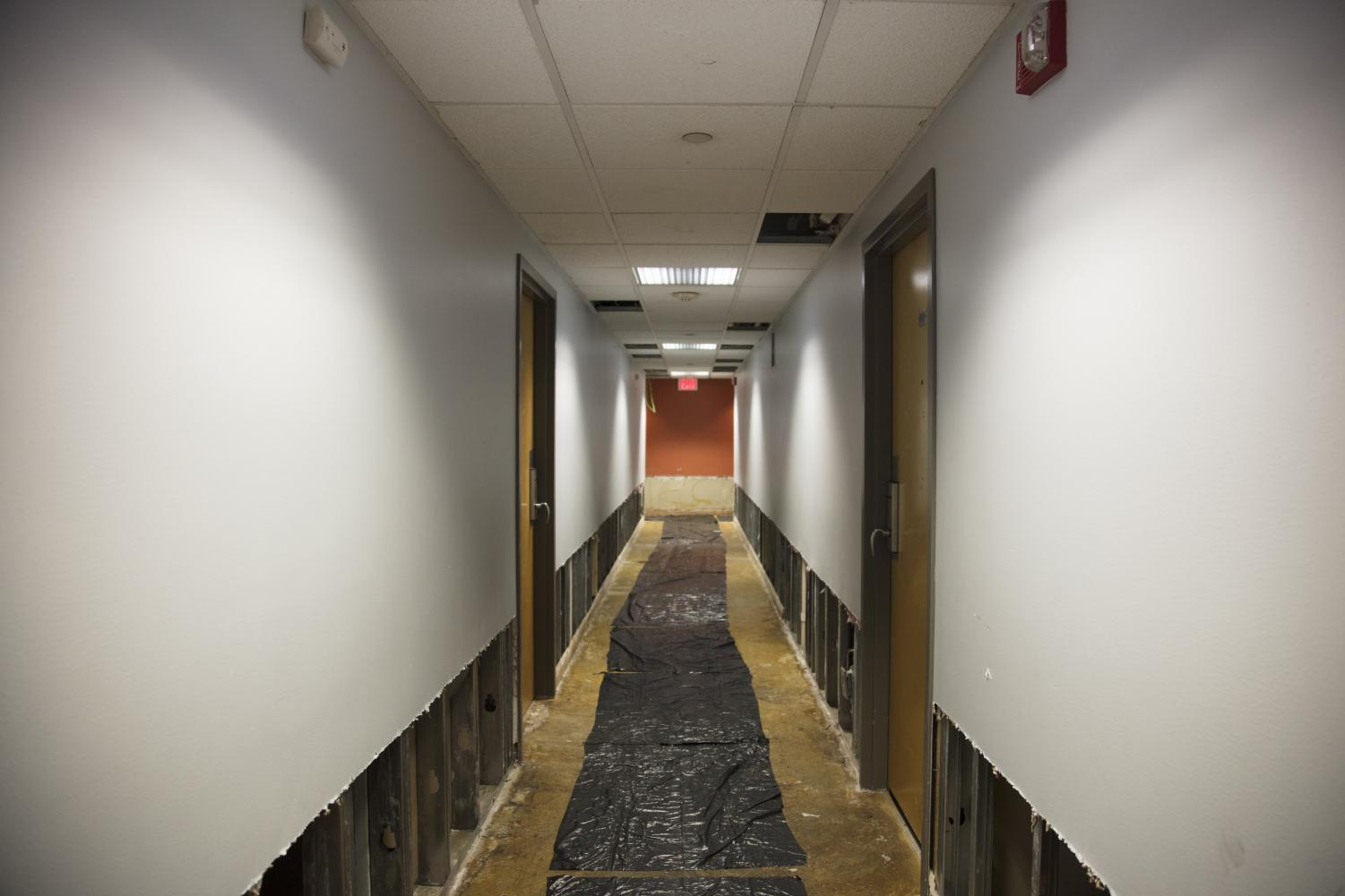 Water damage on the second floor of Illini Tower on Oct. 11. The first to fourth floors of the residence hall were flooded on Sept. 25 by a sprinkler in one of the apartments.