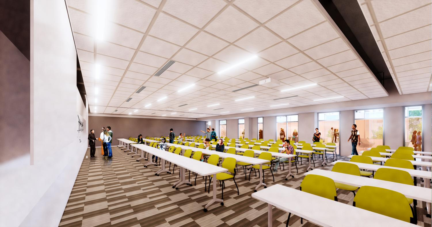Classroom in the Mechanical Engineering Building on Sunday. A five-story building will be added to the existing infrastructure as part of a $41 million renovation.