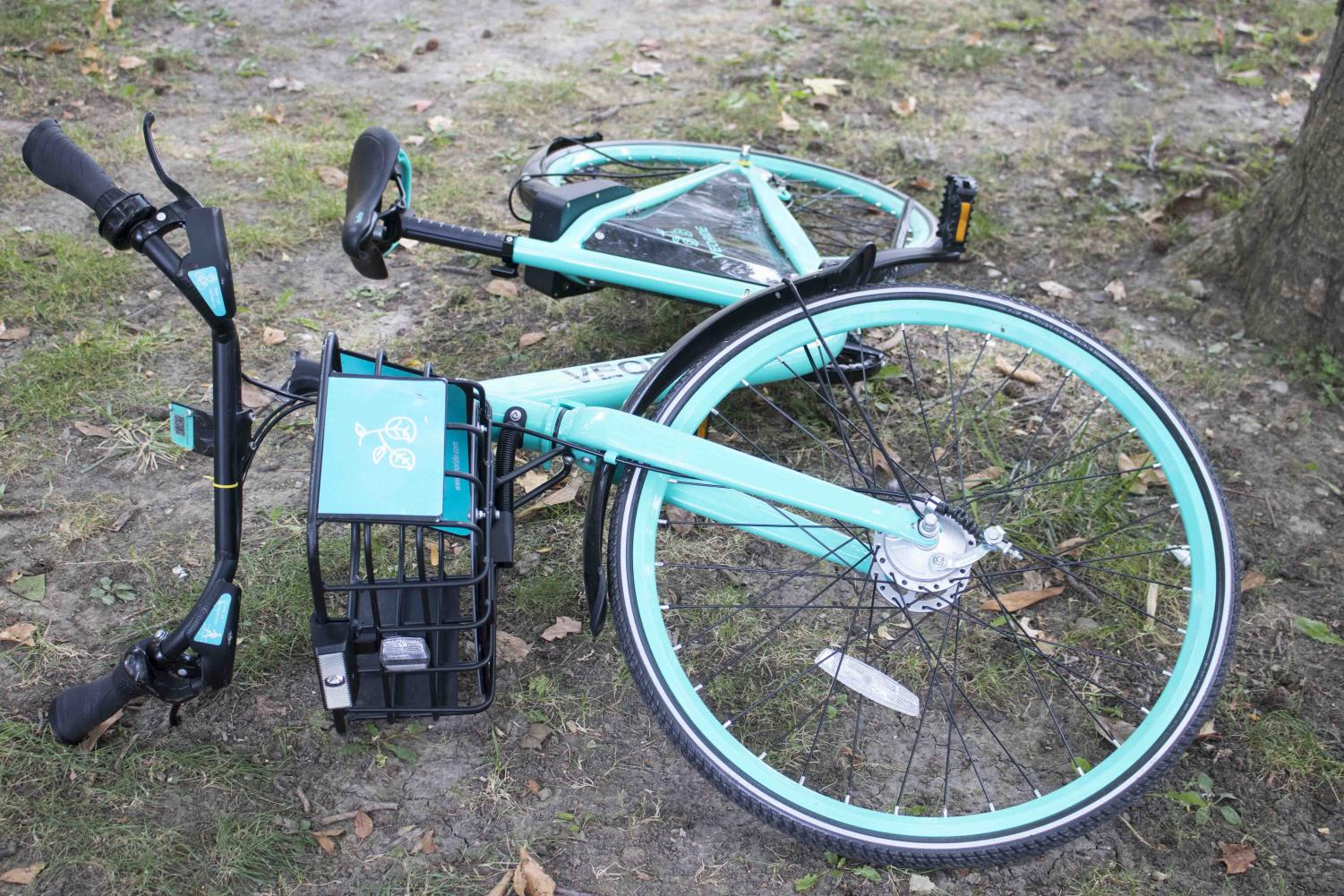 VeoRide bicycles have been damaged and used in pranks since their introduction to campus about two months ago.