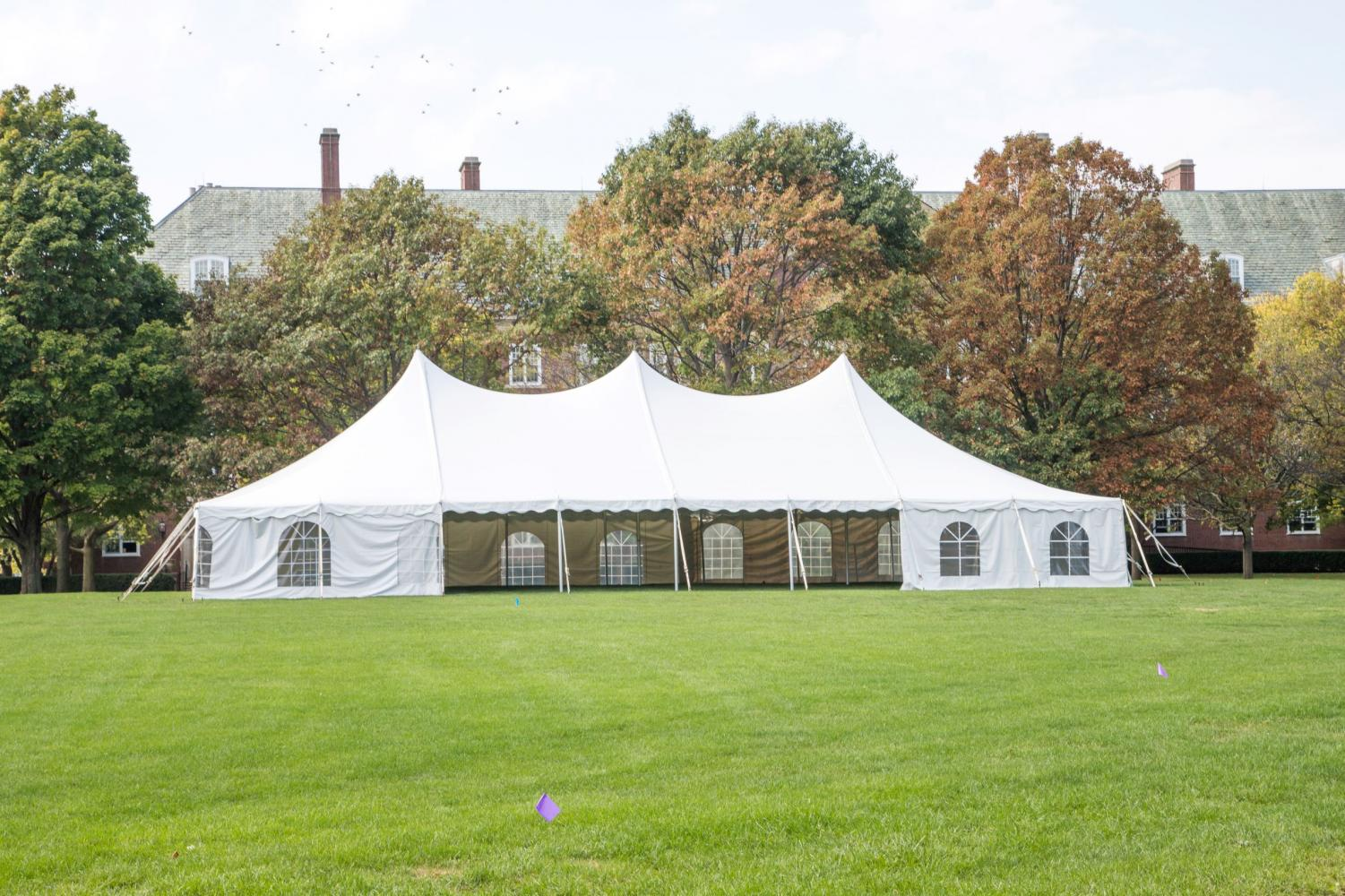 A tent is set up on the South Quad for Indigenous People's Day on Monday, Oct. 8, 2018.