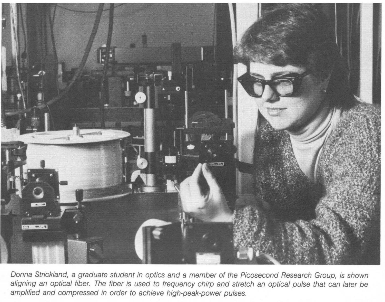 Donna Strickland on Jan. 1, 1985, aligns an optical fiber as a graduate student at the  University of Rochester. Strickland was among three recipients to win the 2018 Nobel Prize and the third female scientist in history for the prize in Physics.