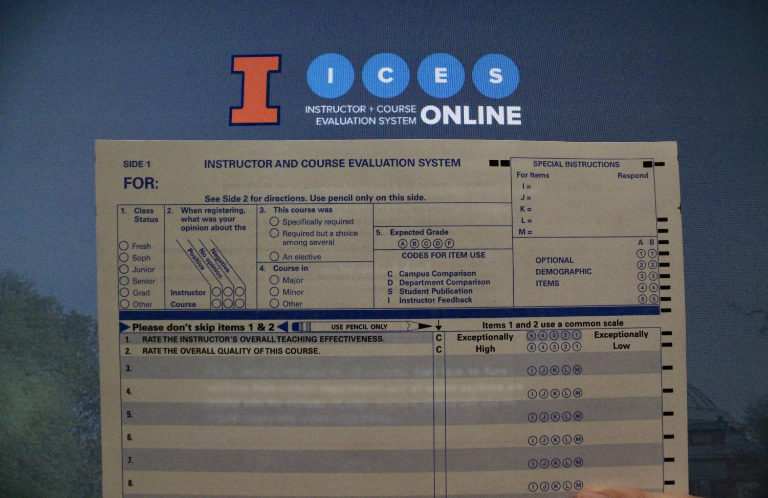 A standard hard copy of a course evaluation form provided by Eric Keely, assistant director of measurement and evaluation at the Center for Innovation in Teaching & Learning, and Rajat Chadha, measurement specialist at CITL, in the Armory on Thursday.