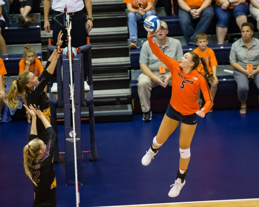 Illinois middle blocker Ali Bastianelli tips the ball during the match against Northern Iowa at Huff Hall on Sept. 14. The Illini take on No. 5 Wisconsin on Wednesday at 8 p.m.