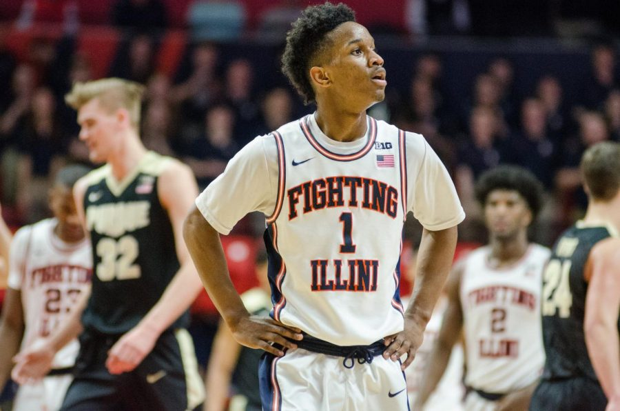 Trent+Frazier+takes+a+breath+during+Illinois%E2%80%99+93-86+loss+to+No.+6+Purdue+on+Feb.+22.