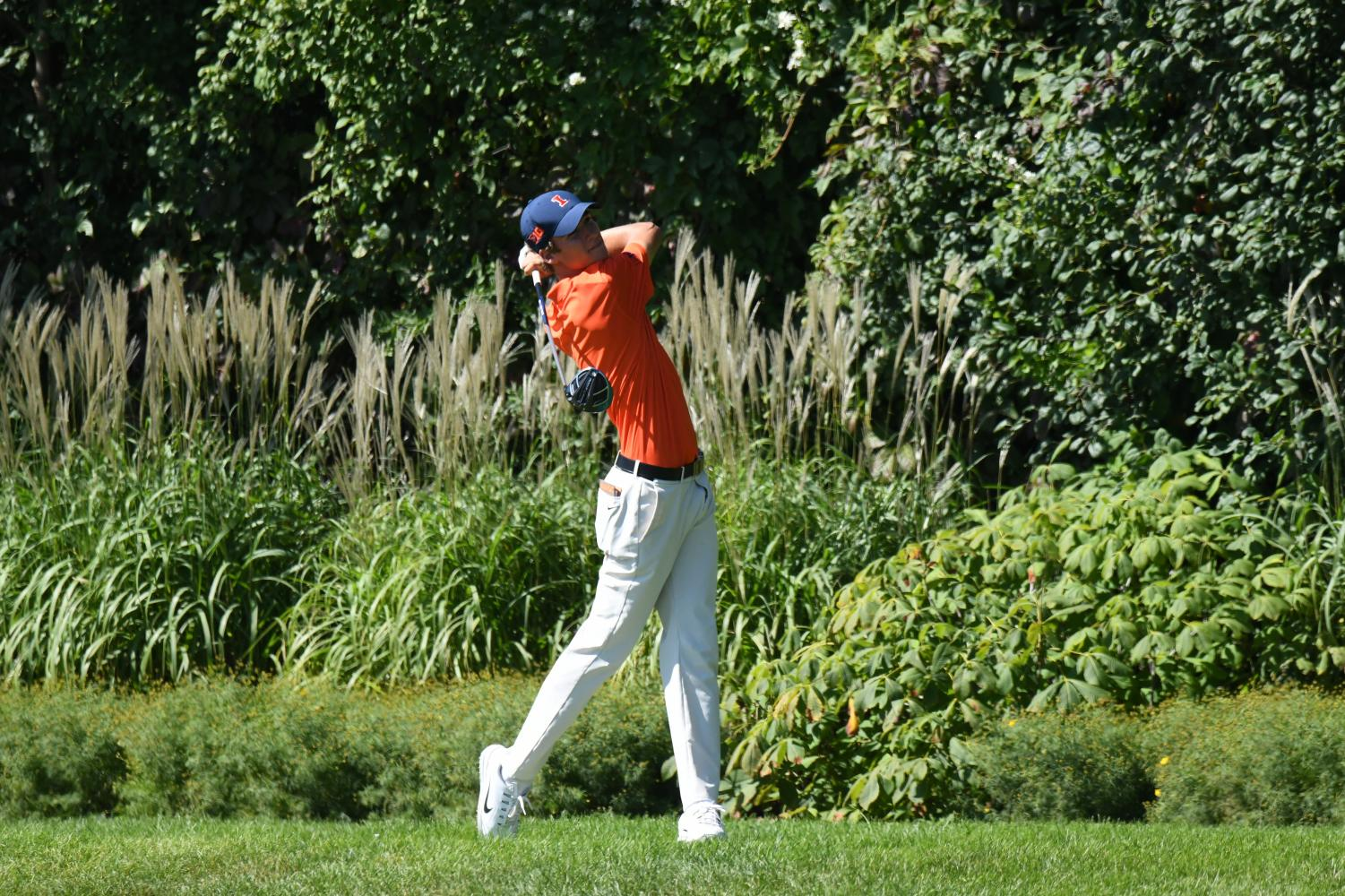 Illinois men's golf freshman Adrien Dumont de Chassart competes at the OFCC/FI Invitational in Olympia Fields, Illinois. Dumont de Chassart has been an impact performer on the team early this season, helping to make up for the loss of some prominent seniors after last season.