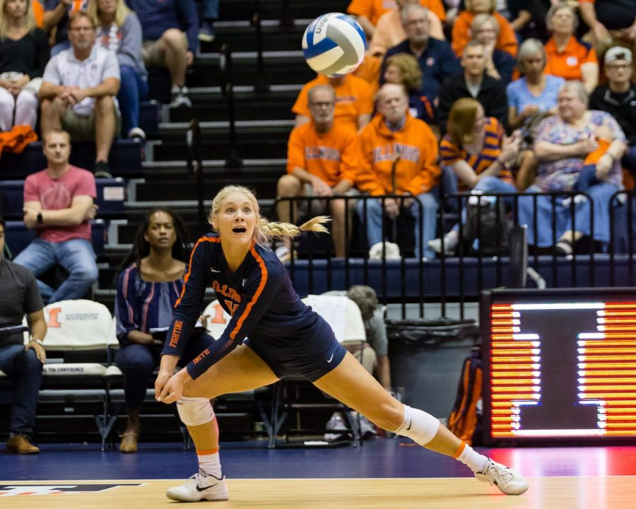 Illinois defensive specialist Morgan O'Brien gets ready to dig the ball during the match against Iowa at Huff Hall on Sept. 28. O'Brien became the third player to receive Big Ten Player of the Week accolades this season.