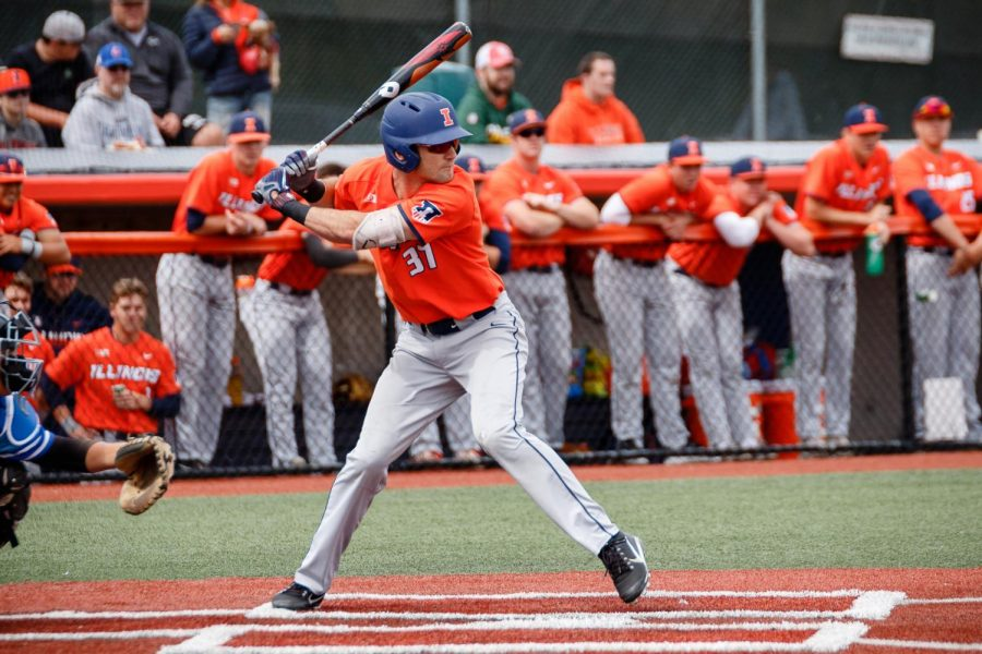 Illinois+outfielder+Zac+Taylor+gets+ready+to+swing+at+the+pitch+during+the+exhibition+game+against+Indiana+State+at+Illinois+Field+on+Saturday.+The+Illini+tied+5-5.