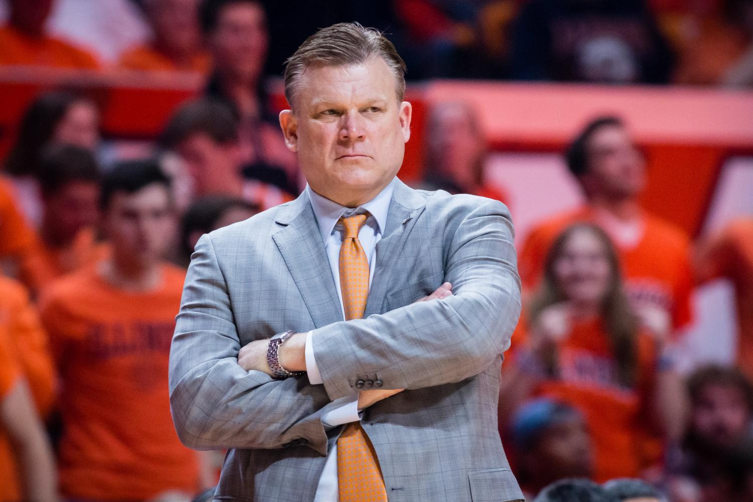Illinois head coach Brad Underwood watches his team from the sideline during the game against Wisconsin at the State Farm Center on Feb. 8. Underwood and his team showed off their preparation in front of a crowd eager to get a look at the new team on Saturday at the Homecoming open practice.