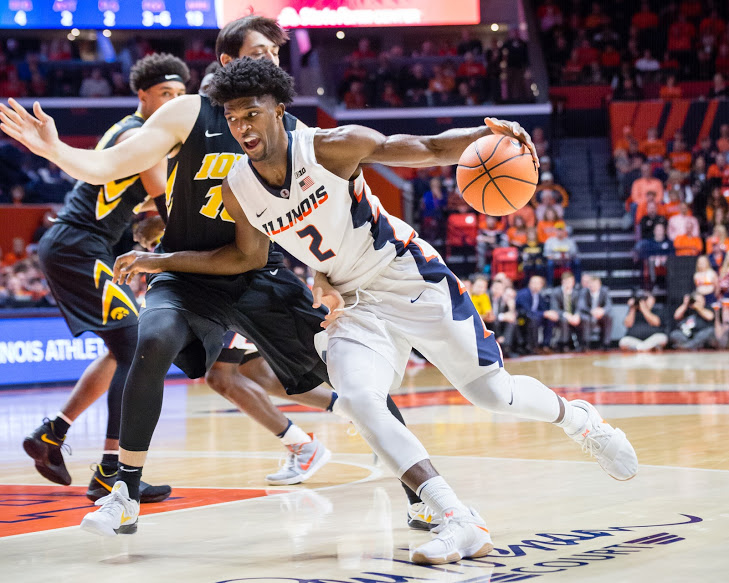 Illinois+forward+Kipper+Nichols+%282%29+drives+to+the+basket+during+the+game+against+Iowa+at+State+Farm+Center+on+Thursday%2C+Jan.+11%2C+2018.+The+Illini+lost+in+overtime+104-97.