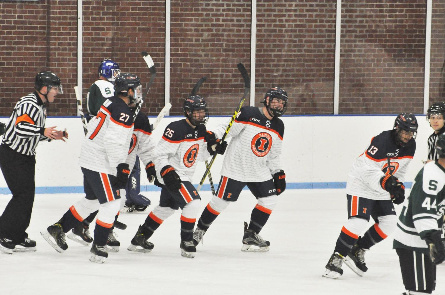Illinois club hockey players take the ice against Michigan State on Sept. 28-29 at the University of Illinois Ice Arena.