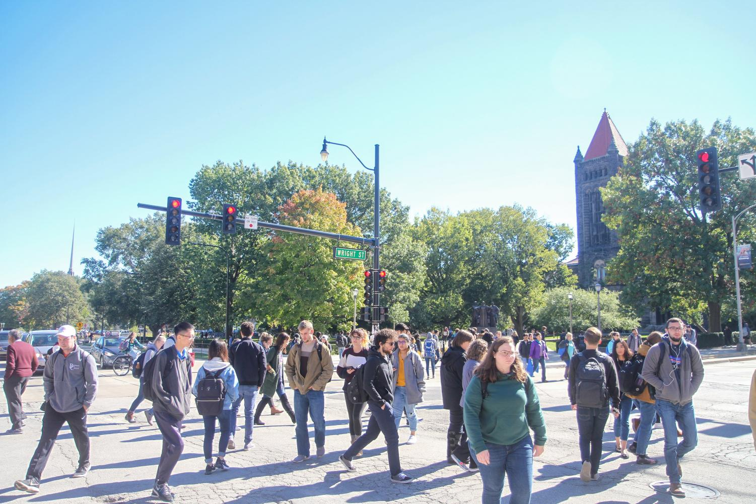 Students crossing Green and Wright to get to their morning classes on October 18, 2018.